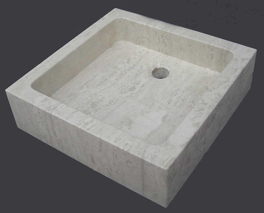 Lavabo de m rmol en caliza moka for Marmol travertino romano precio